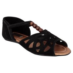 Sarva Womens Black Flat Sandal
