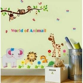 Ay9052 Monkey On Tree Nature Wall Sticker  Jaamso Royals