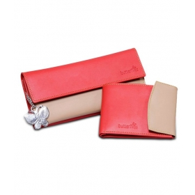 Red And Beige P.u. Wallet And Red And Beige P.u. Clutch Combo