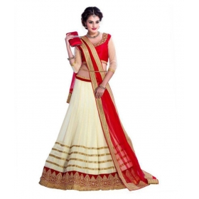 Off White Georgette Unstitched Lehenga