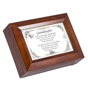 Dear And Beautiful Granddaughter Dark Wood Finish Jewelry Music Box - Plays Tune You Are My Sunshine