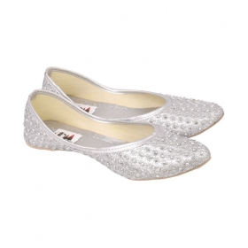 Silver Flat Ethnic Footwear