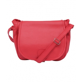 Red Faux Leather Sling Bag