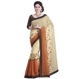 Beautiful Beige, Orange Coloured Chanderi Cotton Saree