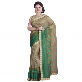 Sati Beige, Green Coloured Chanderi Cotton Saree