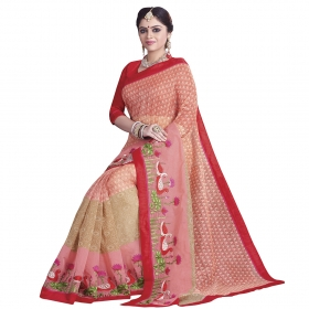 Awesome Beige, Pink Coloured Chanderi Cotton Saree