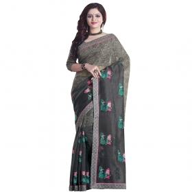 Sati Gorgeous Grey Coloured Super Net Saree