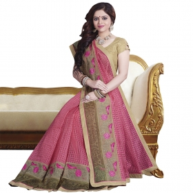 Stunning Pink Coloured Chanderi Cotton, Super Net Saree