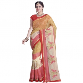 Magnificent Mustard, Cream And Pink Coloured Super Net Saree