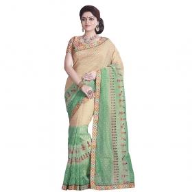 Sati Beautiful Beige And Green Coloured Super Net Saree