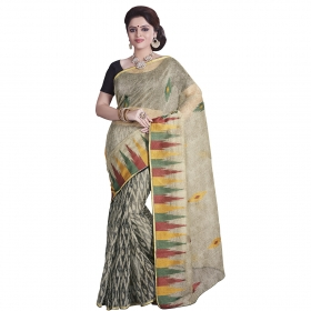 Sati Fashionable Beige And Black Coloured Supernet Saree