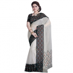 Dashing Grey And Black Coloured Super Net Saree