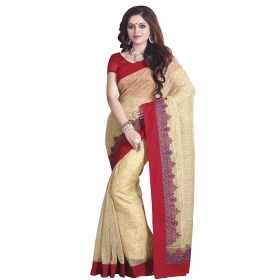 Fantastic Beige Coloured Super Net Saree