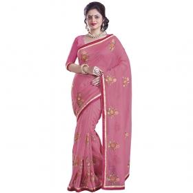 Magnificent Pink Coloured Supernet Saree