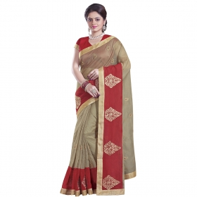 Stunning Brown And Red Coloured Supernet Saree
