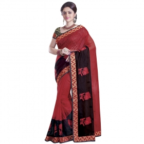 Attractive Red And Black Coloured Supernet Saree