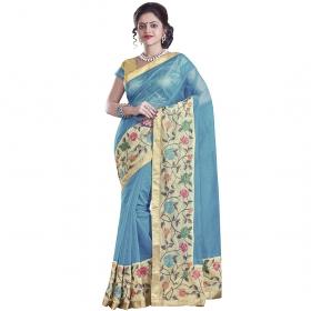 Superb Blue Coloured Supernet Saree