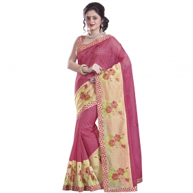 Pretty Pink And Beige Coloured Supernet Saree