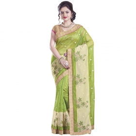 Fashionable Green And Beige Coloured Supernet Saree