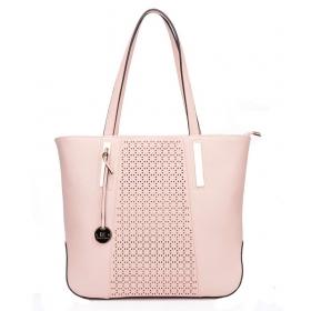 Pink Faux Leather Shoulder Bag