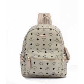 Gray Faux Leather Backpack