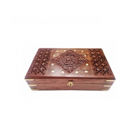 Desi Karigar Big Jewellery Box With Jali, Brass And Carved Work