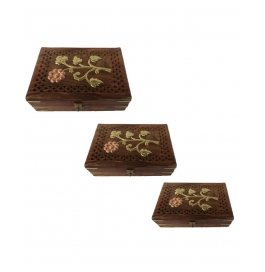 Desi Karigar Set Of Three Jewellery Boxes With Jali & Brass Work