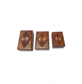 Desi Karigar Set Of Three Jewellery Boxes With Brass And Carved Work