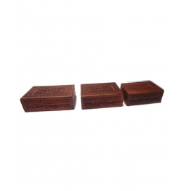 Desi Karigar Set Of Three Fully Carved Jewellery Boxes