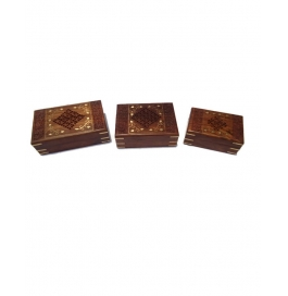 Desi Karigar Set Of Three Carved, Brass And Jali Work Jewellery Boxes