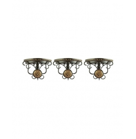 Beautiful Wood And Wrought Iron Fancy Brown Wooden Handicrafts Bracket Holder - Pack Of 3
