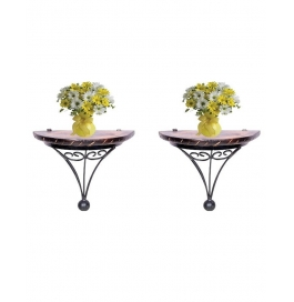 Wood And Wrought Iron Fancy Wall Bracket (set Of Two)
