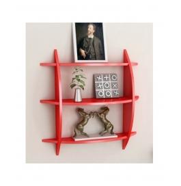 Red 3 Tier Wooden Wall Shelf