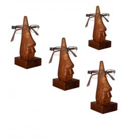 Desi Karigar Unique Hand Carved Rosewood Nose-shaped Eyeglass Spectacle Holder Family Pack (set Of 4)