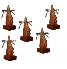Desi Karigar Unique Hand Carved Rosewood Nose-shaped Eyeglass Spectacle Holder Family Pack (set Of 5)
