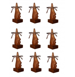 Desi Karigar Unique Hand Carved Rosewood Nose-shaped Eyeglass Spectacle Holder Family Pack (set Of 9)