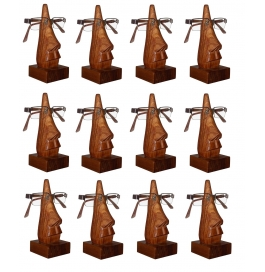 Desi Karigar Unique Hand Carved Rosewood Nose-shaped Eyeglass Spectacle Holder Wholesale Pack (set Of 12)