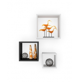 Desi Karigar Wall Mount Shelves Square Shape Set Of 3 Wall Shelves: Black & White
