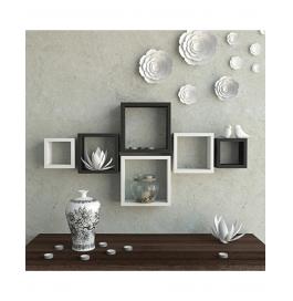 Desi Karigar Wall Mount Shelves Square Shape Set Of 6 Wall Shelves - Black & White