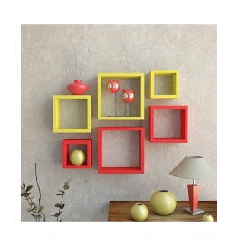 Desi Karigar Wall Mount Shelves Square Shape Set Of 6 Wall Shelves - Red & Yellow
