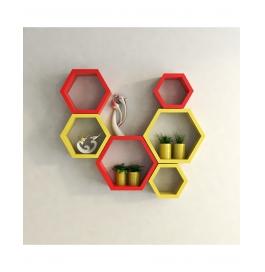 Desi Karigar Wall Mount Shelves Hexagon Shape Set Of 6 Wall Shelves - Red & Yellow