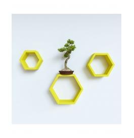Desi Karigar Wall Mount Shelves Hexagon Shape Set Of 3 Yellow Wall Shelves