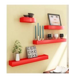Desi Karigar Red Engineered Wood Wall Shelves - Set Of 4