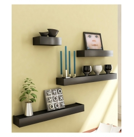 Desi Karigar Black Engineered Wood Wall Shelves - Set Of 4