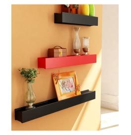 Desi Karigar Red & Black Engineered Wood Wall Shelves - Set Of 3