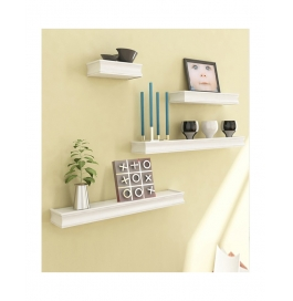 Desi Karigar White Mango Wood & Mdf Wall Shelves - Set Of 4
