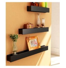 Desi Karigar Black Engineered Wood Wall Shelves - Set Of 3