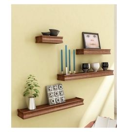 Desi Karigar Brown Natural Mango Wood & Mdf Wall Shelves - Set Of 4