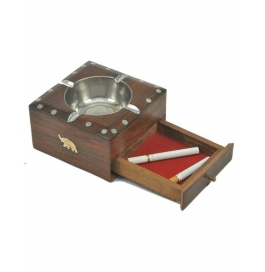 Desi Karigar Brown Wooden Ash Tray With Cigarette Drawer
