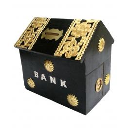 Desi Karigar Wooden Hut Shaped Black Money Bank